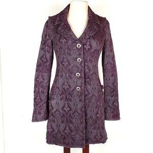 Free People purple jacquard coat